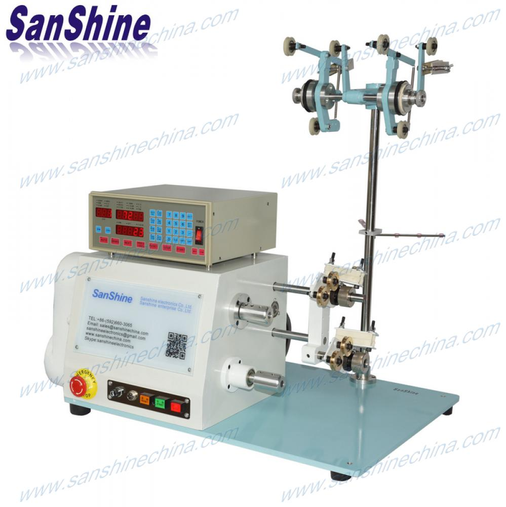 Two spindles automatic thick wire coil winding machine